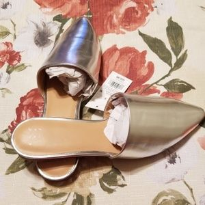 A New Day Silver Junebug Pointy Toe Backless Mules